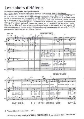 Les sabots d'Hélène, La boîte à chansons