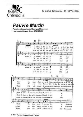 Pauvre Martin, La boîte à chansons