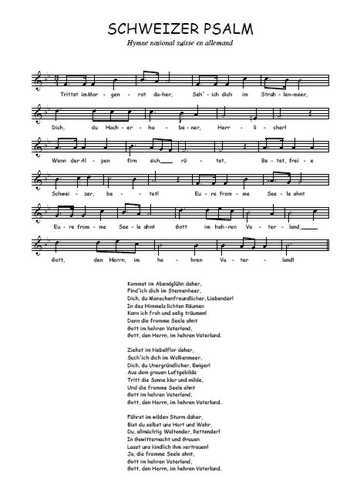 Schweizer Psalm Partition gratuite
