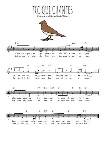 Toi qui chantes Partition gratuite