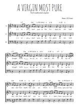 Téléchargez l'arrangement de la partition de Traditionnel-A-Virgin-most-pure en PDF à trois voix