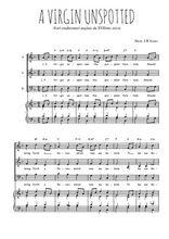 Téléchargez la partition de A Virgin unspotted en PDF pour 3 voix SAB et piano