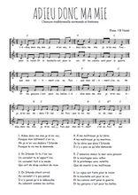 Téléchargez l'arrangement de la partition de Traditionnel-Adieu-donc-ma-mie en PDF à deux voix