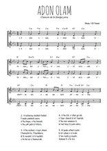 Téléchargez l'arrangement de la partition de liturgie-juive-adon-olam en PDF à deux voix