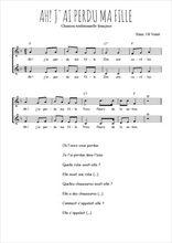 Téléchargez l'arrangement de la partition de Traditionnel-Ah-!-J-ai-perdu-ma-fille en PDF à deux voix