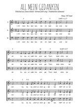 Téléchargez l'arrangement de la partition de Traditionnel-All-mein-Gedanken en PDF à trois voix