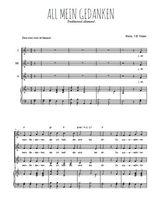 Téléchargez la partition de All mein Gedanken en PDF pour 3 voix SSA et piano