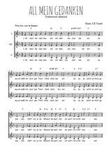 Téléchargez l'arrangement de la partition de Traditionnel-All-mein-Gedanken en PDF pour trois voix de femmes