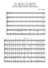 Téléchargez la partition de All mein Gedanken en PDF pour 4 voix SATB et piano