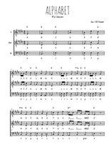 Téléchargez l'arrangement de la partition de W.A.-Mozart-Alphabet en PDF pour trois voix d'hommes
