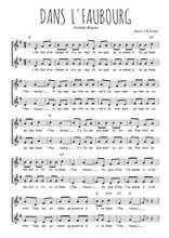 Téléchargez l'arrangement de la partition de Aristide-Bruant-Dans-l-faubourg en PDF à deux voix