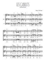 Téléchargez l'arrangement de la partition de Aristide-Bruant-Les-Canuts en PDF pour trois voix d'hommes