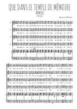 Téléchargez la partition de Que dans le temple de Mémoire en PDF pour 4 voix SATB et piano