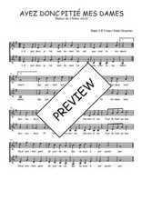 Téléchargez l'arrangement de la partition de Traditionnel-Ayez-donc-pitie-mes-Dames en PDF à deux voix
