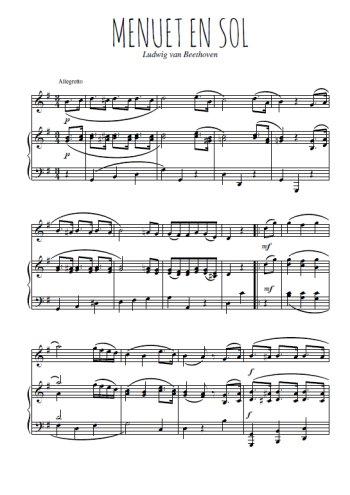 Téléchargez la partition de Menuet en sol en PDF pour Mélodie et piano