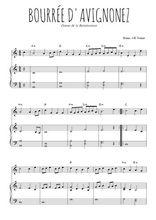 Téléchargez la partition de Bourrée d'Avignonnez en PDF pour Mélodie et piano