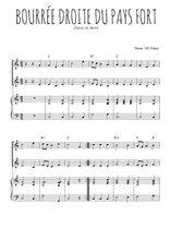 Téléchargez la partition de Bourrée droite du pays Fort en PDF pour 2 voix égales et piano