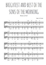 Téléchargez l'arrangement de la partition de Traditionnel-Brightest-and-best-of-the-sons-of-the-morning en PDF à deux voix
