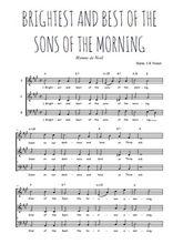Téléchargez l'arrangement de la partition de Traditionnel-Brightest-and-best-of-the-sons-of-the-morning en PDF à trois voix