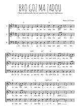 Téléchargez l'arrangement de la partition de bro-gozh-ma-zadou en PDF à trois voix