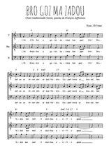 Téléchargez l'arrangement de la partition de bro-gozh-ma-zadou en PDF pour trois voix d'hommes