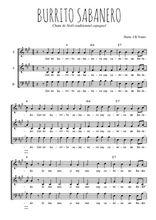 Téléchargez l'arrangement de la partition de Traditionnel-Burrito-sabanero en PDF à trois voix