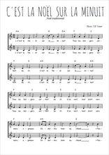 Téléchargez l'arrangement de la partition de Traditionnel-C-est-la-Noel-sur-la-minuit en PDF à deux voix