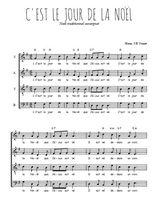 Téléchargez l'arrangement de la partition de Traditionnel-C-est-le-jour-de-la-Noel en PDF à quatre voix