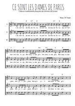 Téléchargez l'arrangement de la partition de Traditionnel-Ce-sont-les-dames-de-Paris en PDF à trois voix