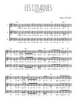 Téléchargez l'arrangement de la partition de chant-scout-les-cosaques en PDF à trois voix