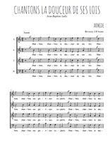 Téléchargez l'arrangement de la partition de Jean-Baptiste-Lully-Chantons-la-douceur-de-ses-lois en PDF à quatre voix