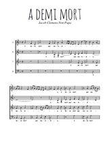 Téléchargez l'arrangement de la partition de Clemens-Non-Papa-A-demi-mort en PDF à quatre voix