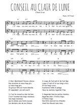 Téléchargez l'arrangement de la partition de Traditionnel-Conseil-au-clair-de-lune en PDF à deux voix