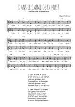 Téléchargez l'arrangement de la partition de Traditionnel-Dans-le-calme-de-la-nuit en PDF à deux voix