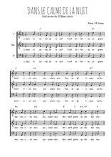 Téléchargez l'arrangement de la partition de Traditionnel-Dans-le-calme-de-la-nuit en PDF pour trois voix d'hommes