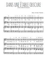 Téléchargez la partition de Dans une étable obscure en PDF pour 2 voix égales et piano