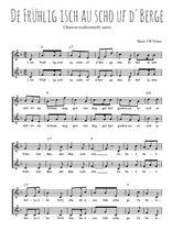 Téléchargez l'arrangement de la partition de Traditionnel-De-Fruhlig-isch-au-scho-uf-d-Berge en PDF à deux voix