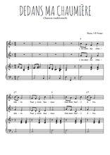 Téléchargez la partition de Dedans ma chaumière en PDF pour 2 voix égales et piano