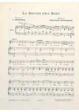 Téléchargez la partition de La saison des nids en PDF pour Chant et piano