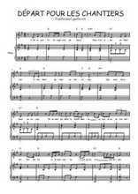 Téléchargez la partition de Départ pour les chantiers en PDF pour Chant et piano