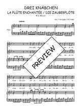Téléchargez la partition de Drei Knäbchen, quintet de La flûte enchantée en PDF pour 2 voix égales et piano