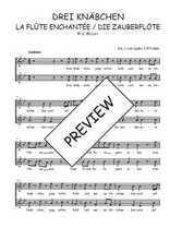 Téléchargez l'arrangement de la partition de W.A.-Mozart-Drei-Knabchen-quintet-de-La-flute-enchantee en PDF à deux voix