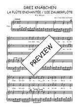 Téléchargez la partition de Drei Knäbchen, quintet de La flûte enchantée en PDF pour 3 voix SAB et piano
