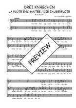Téléchargez l'arrangement de la partition de W.A.-Mozart-Drei-Knabchen-quintet-de-La-flute-enchantee en PDF à trois voix