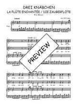 Téléchargez la partition de Drei Knäbchen, quintet de La flûte enchantée en PDF pour 4 voix SATB et piano