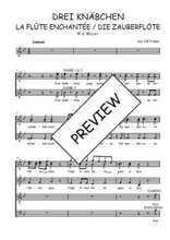 Téléchargez l'arrangement de la partition de W.A.-Mozart-Drei-Knabchen-quintet-de-La-flute-enchantee en PDF à quatre voix
