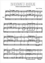 Téléchargez la partition de En revenant d'Auvergne en PDF pour Chant et piano