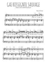 Téléchargez la partition de Gai rossignol sauvage en PDF pour Chant et piano