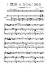 Téléchargez la partition de Carmen, L'amour est un oiseau rebelle en PDF pour Chant et piano