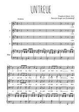 Téléchargez la partition de Untreue en PDF pour 4 voix SATB et piano